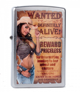 Bilde av Zippo - Wanted Country Girl - Satin Chrome