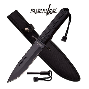 Bilde av Survivor Sheath Knife med Firestarter - Black